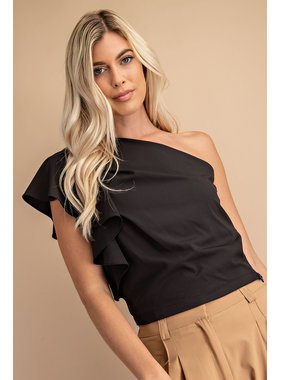 Glam Pleated One Shoulder Top