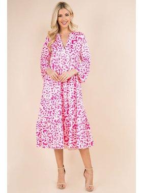 SundayUP Pink Leopard Layered Dress SDu-D8236