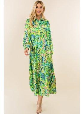 SundayUP Multi Print Tiered Dress- SDUH-D4435