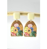 Wall to Wall Color Block Floral Earring