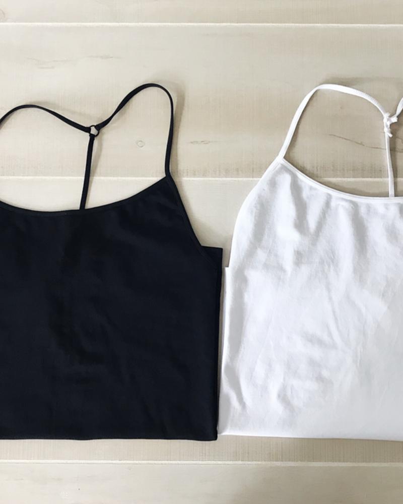 NikiBiki Skinny Y-Back Camisole in Black + White + Stone