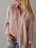 The Carly Button Down in Cream + Blush