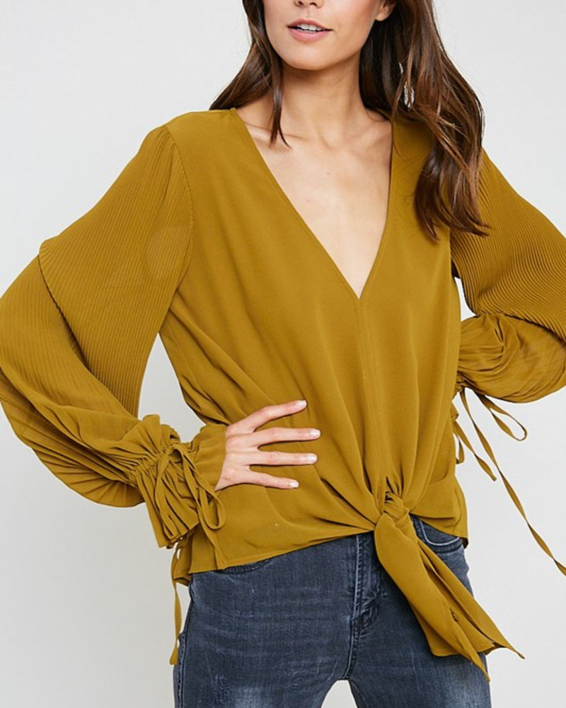 The Queenie Pleated Sleeve Tie Front Blouse