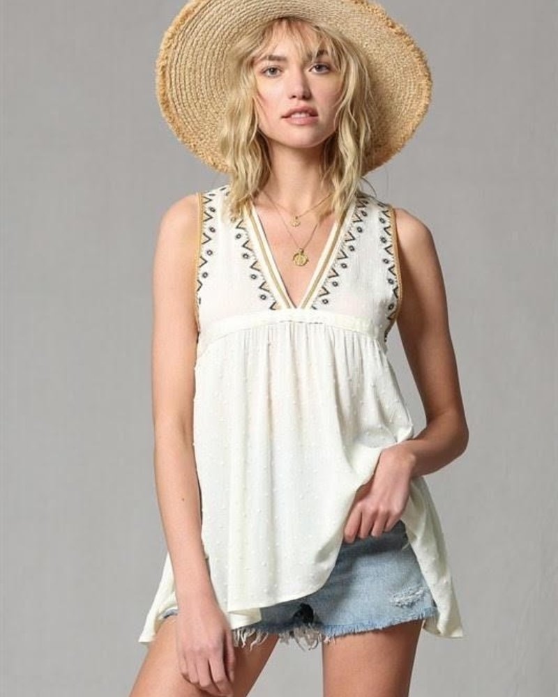 The Sadie Embroidered Swiss Dot Baby Doll Tank