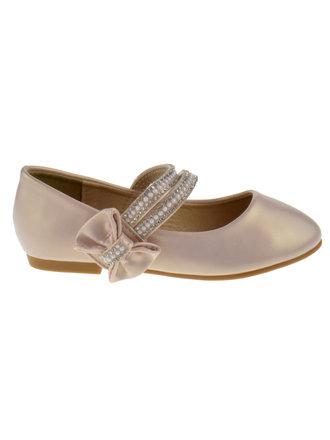 FU 007 KM Little Girls Glitter Bow Ballet Ballerina Flats Black