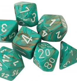 Chessex Dice Menagerie 10: Poly D10 Marble Oxi Copper/White (10)