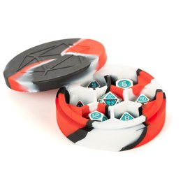 MDG Silicone Round Dice Case: Red/Black/White