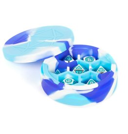 MDG Silicone Round Dice Case: Blue/White/L. Blue