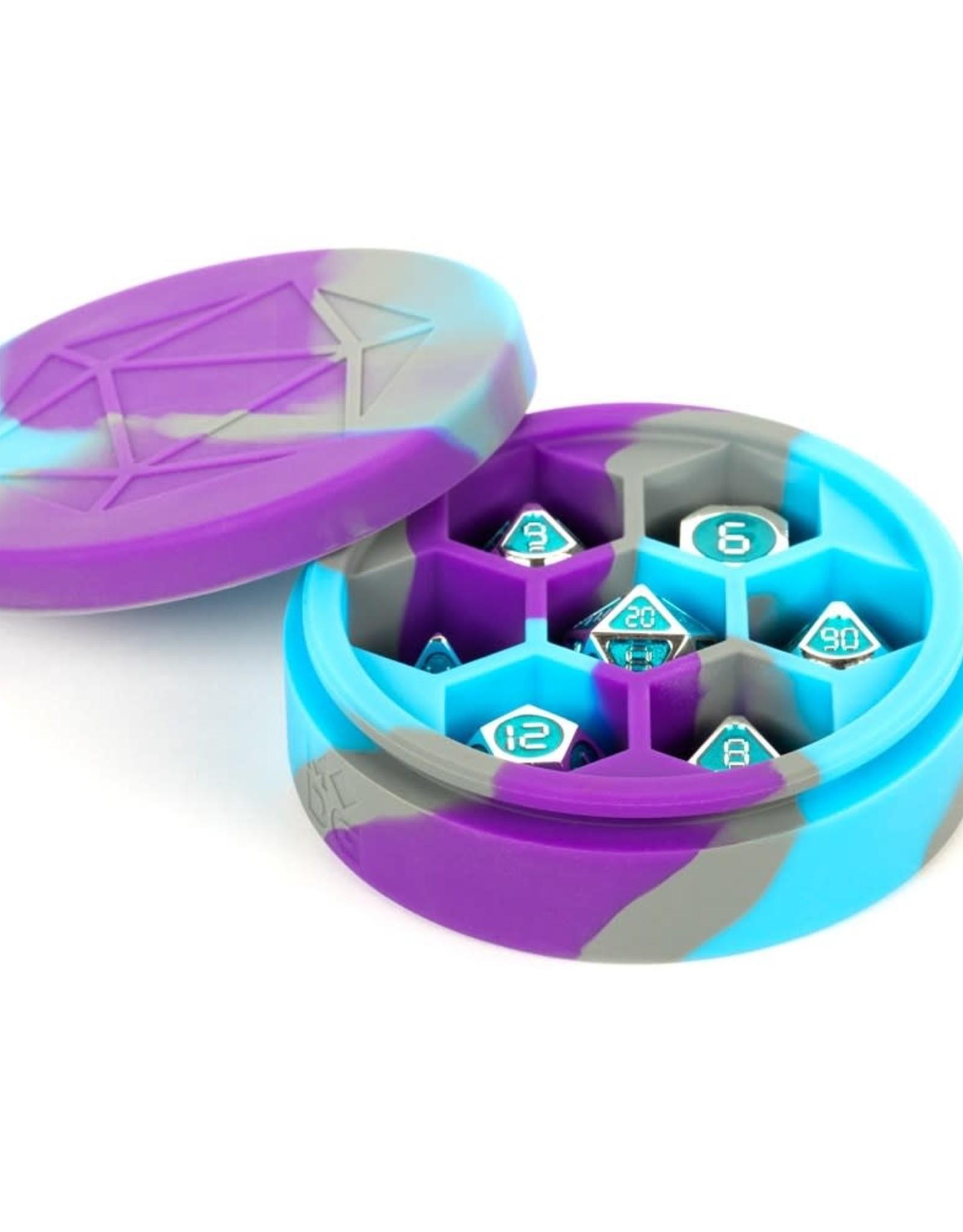 MDG Silicone Round Dice Case: Purple/Gray/L. Blue