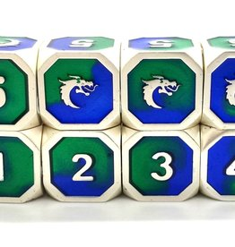 Old School Dice & Accesories Dragon Forged D6 Set: Platinum Blue & Green