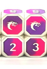 Old School Dice & Accesories Dragon Forged D6 Set Platinum Purple & Pink