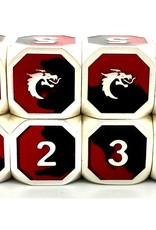 Old School Dice & Accesories Dragon Forged D6 Set: Platinum Black & Red