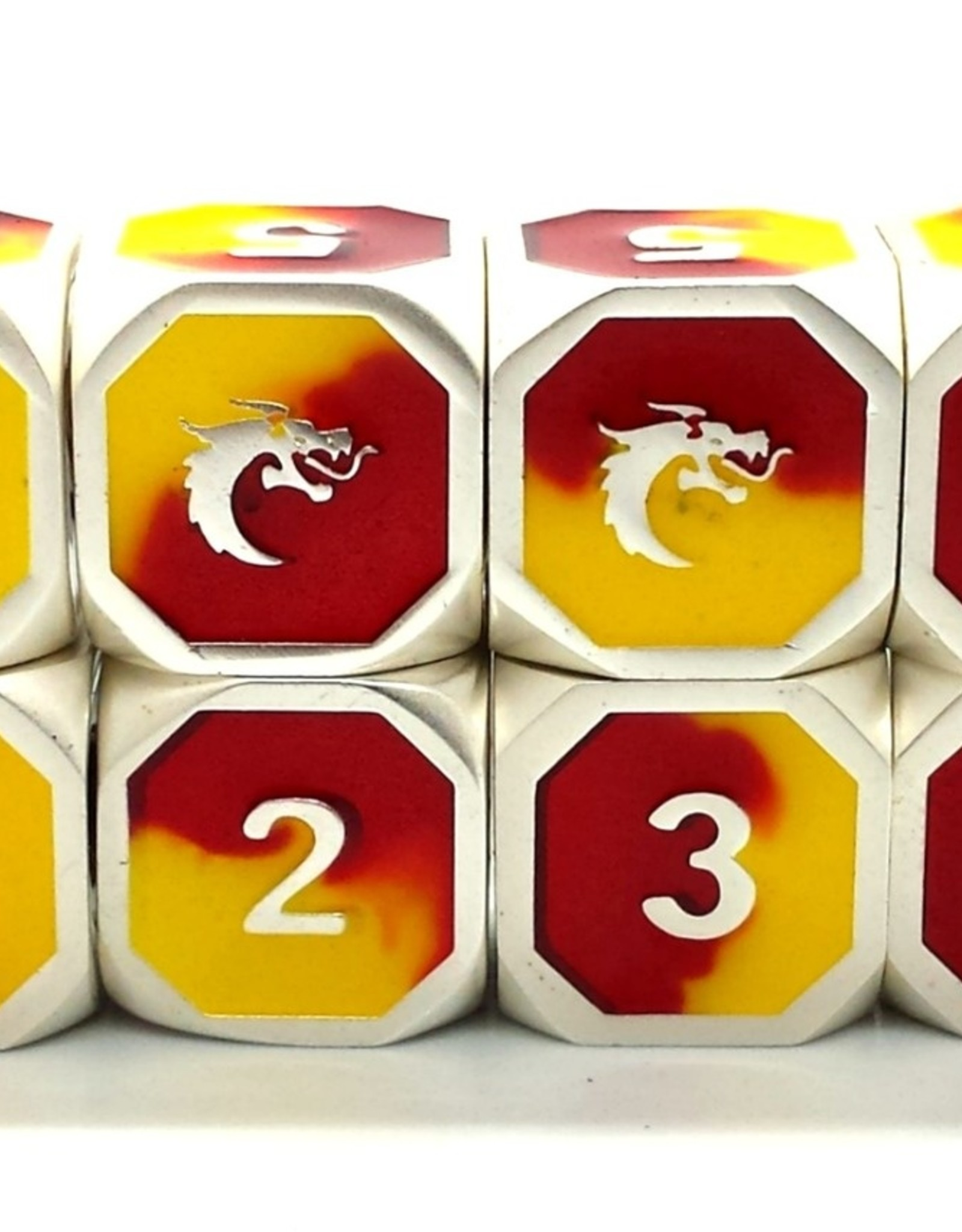 Old School Dice & Accesories Dragon Forged D6 Set Platinum Red & Yellow