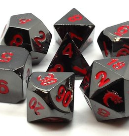 Old School Dice & Accesories Halfling Forged Black Nickel w/ Red