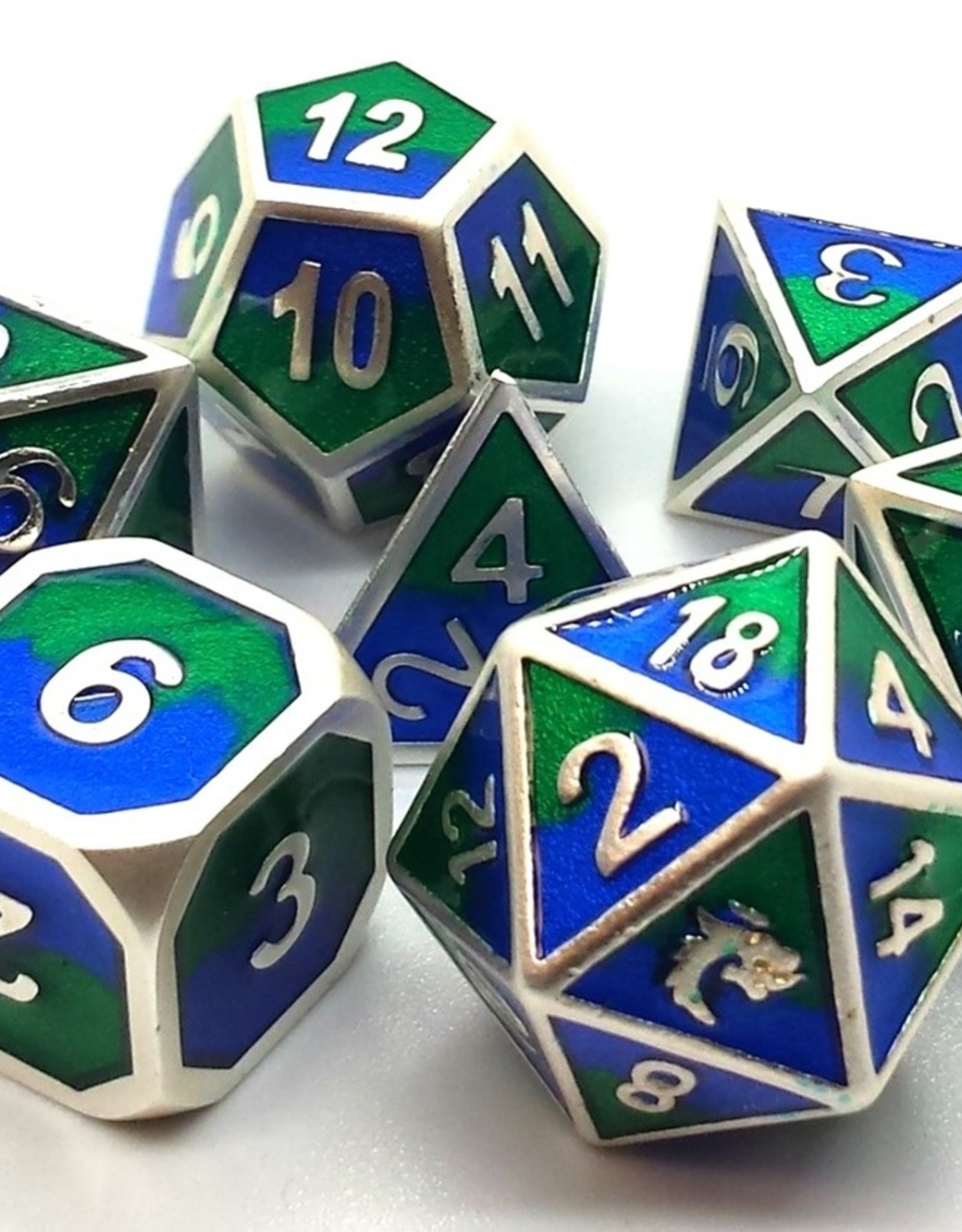 Old School Dice & Accesories Dragon Forged Platinum Blue & Green