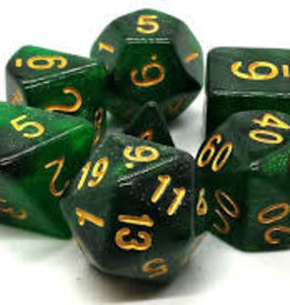 Old School Dice & Accesories Galaxy Green & Black
