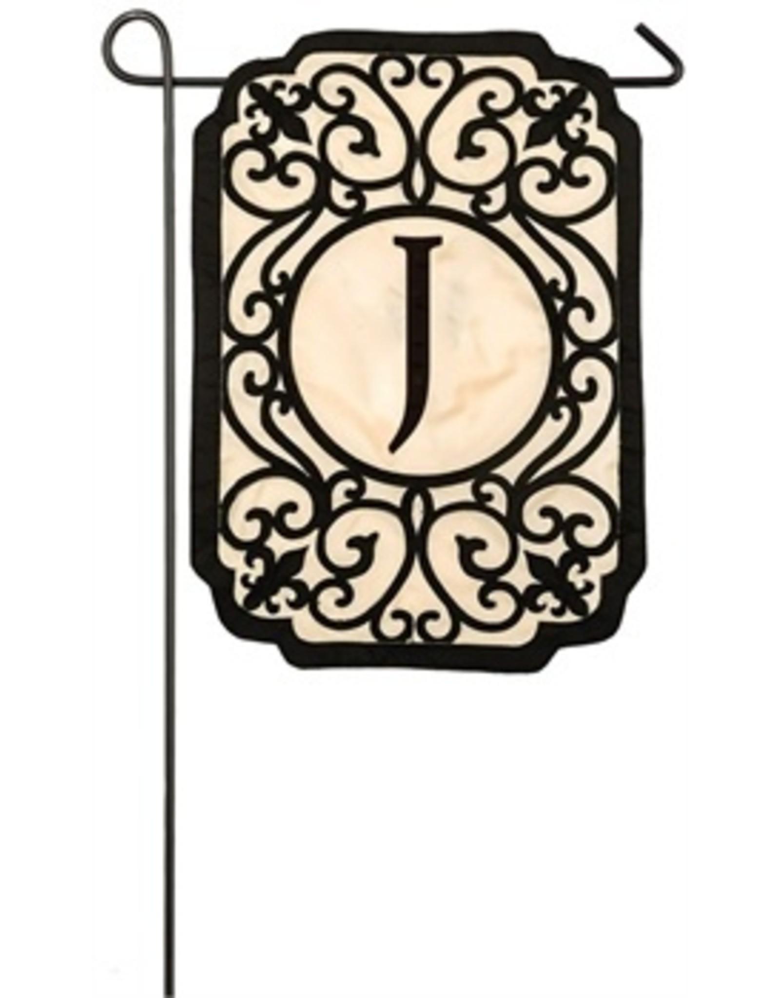 Evergreen Enterprises Filigree Monogram J Garden Flag