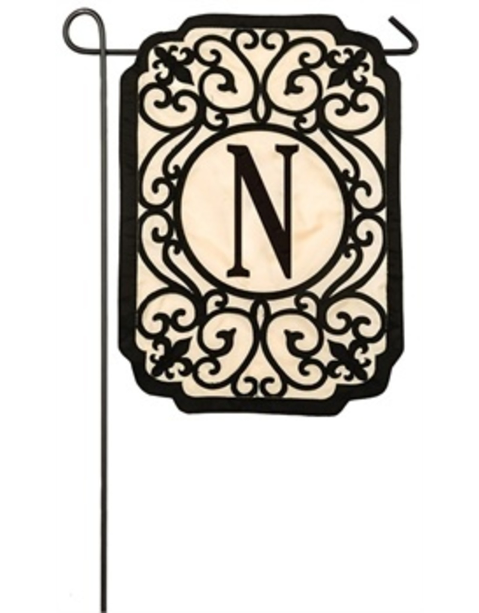 Evergreen Enterprises Filigree Monogram N Garden Flag