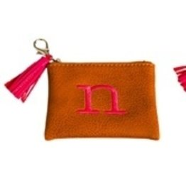 Evergreen Enterprises Vegan Leather Initial Pouch Brown Letter N