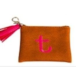 Evergreen Enterprises Vegan Leather Initial Pouch Brown Letter T