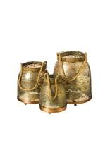 Evergreen Enterprises Antique Gold Glass Lanterns, Set of 3