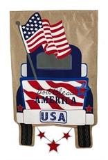 Evergreen Enterprises Patriotic Pick-Up Truck House Burlap flag