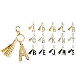 Evergreen Enterprises Vegan Leather Tassel Keychain-Letter G