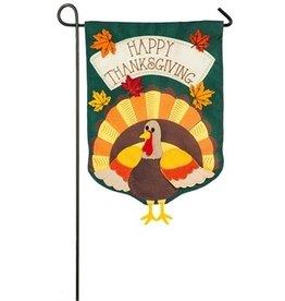 Evergreen Enterprises Turkey Time Garden Burlap Flag