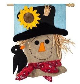 Evergreen Enterprises Scarecrow Season House Burlap Flag