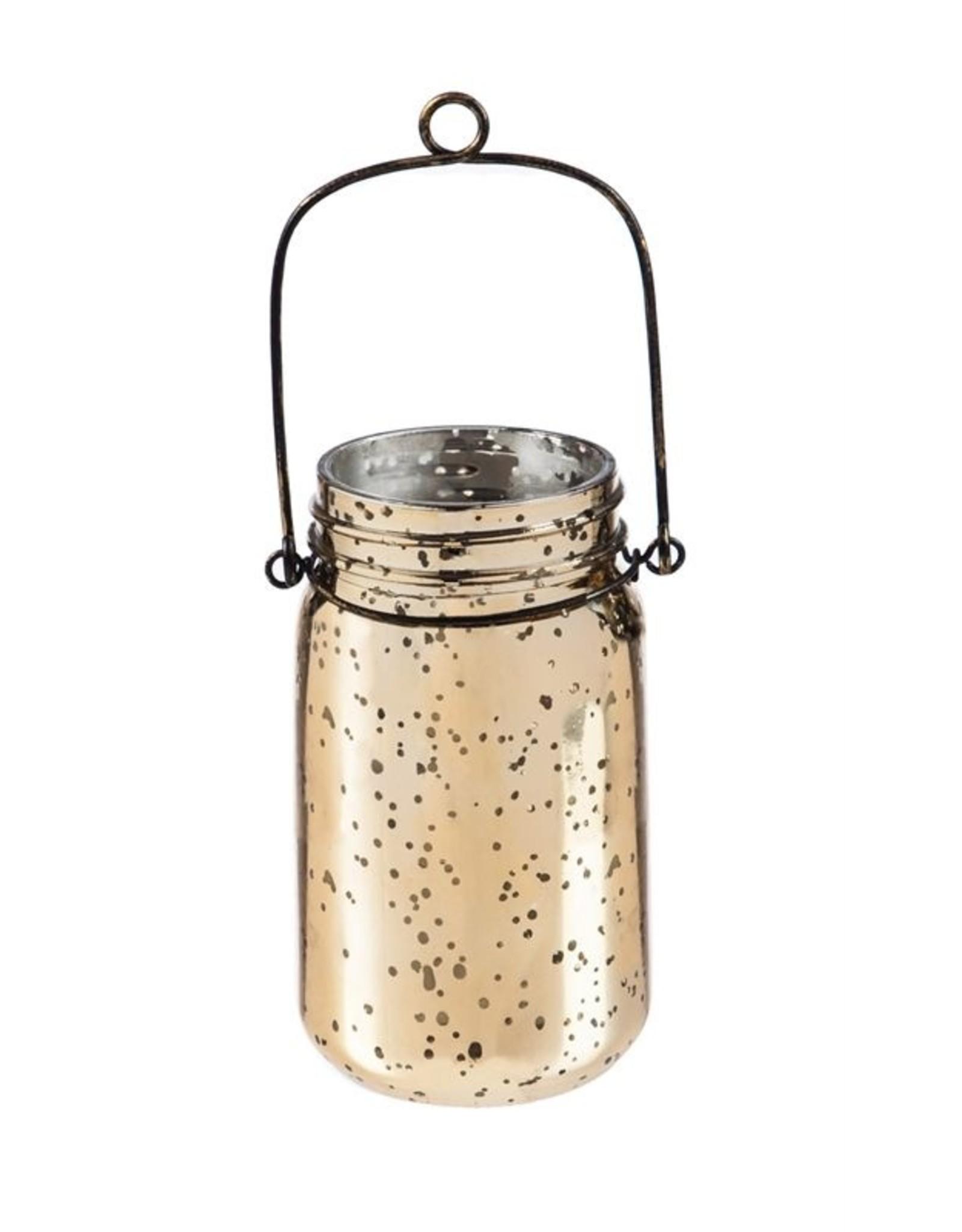 Evergreen Enterprises Gold Mercury Glass Mason Jar With String Lights