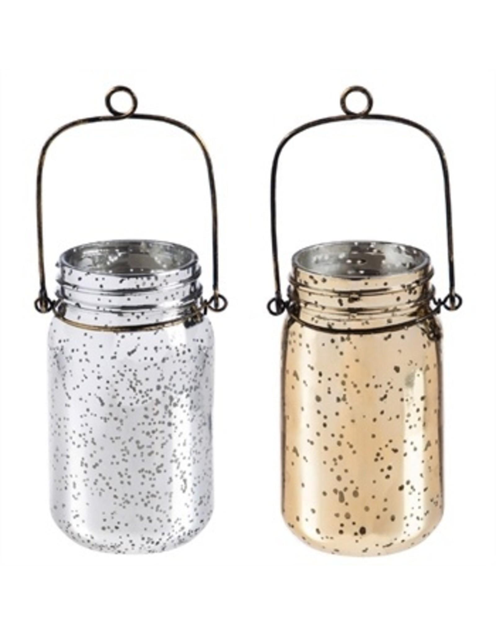 Evergreen Enterprises Silver Mercury Glass Mason Jar With String Lights