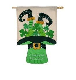 Evergreen Enterprises Leprechauns Welcome House Applique Flag