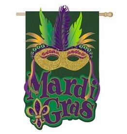 Evergreen Enterprises Mardi Gras Mask House Burlap Flag