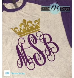 MONOGRAM INITIAL WITH CROWN GLITTER