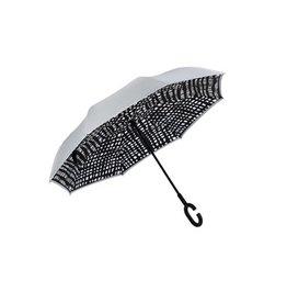 Evergreen Enterprises Abstract Stripe Inverted Umbrella, Gray/Black