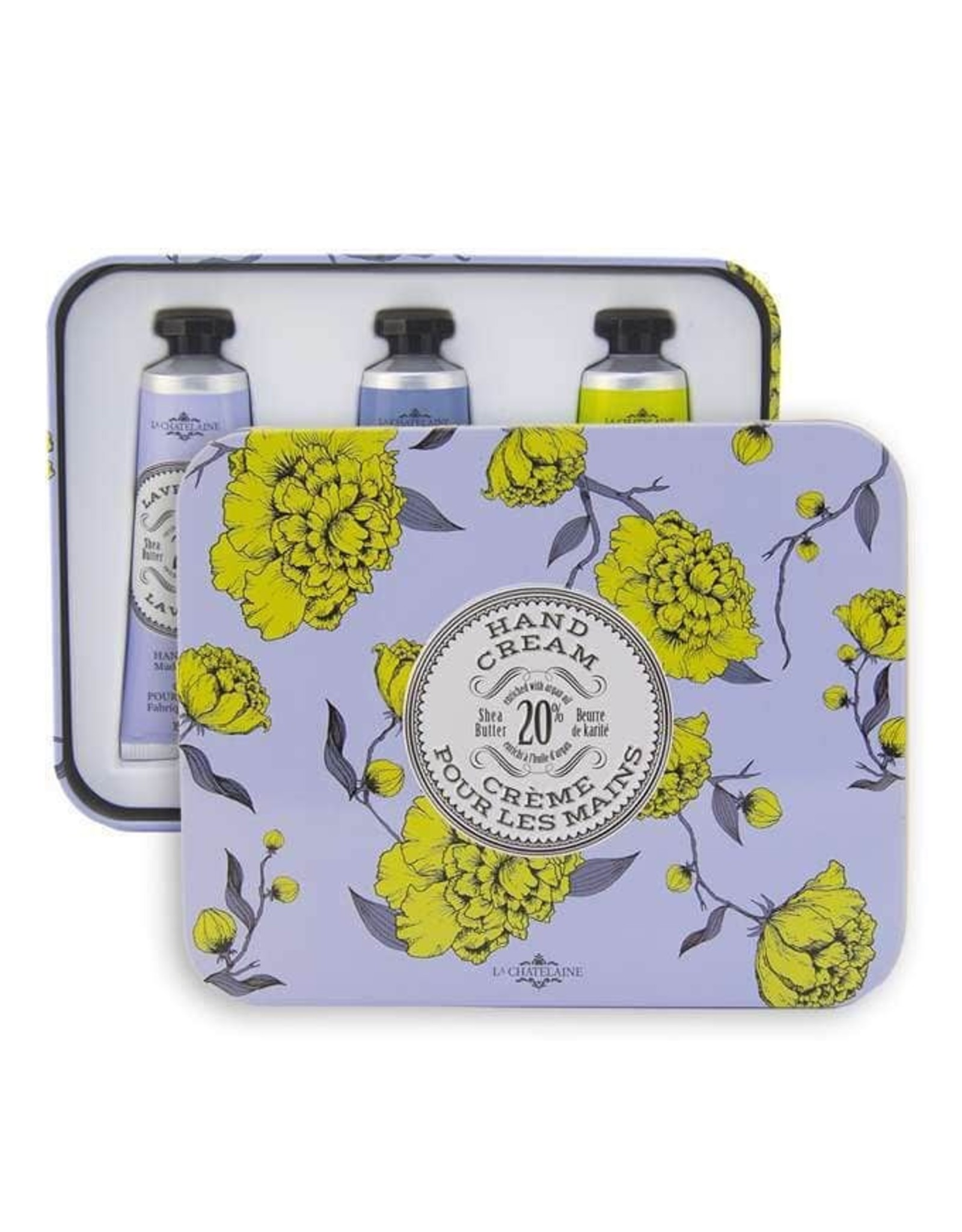 La Chatelaine Lavender Hand Cream Trio Tin