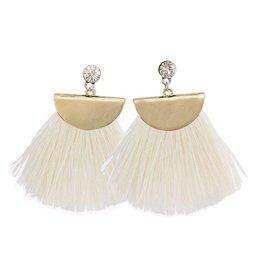 Mary Square Aruba Gold/White Earrings
