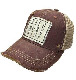 "Landmark Products Maroon Distressed Mesh Back Cap ""Need More Wine"""