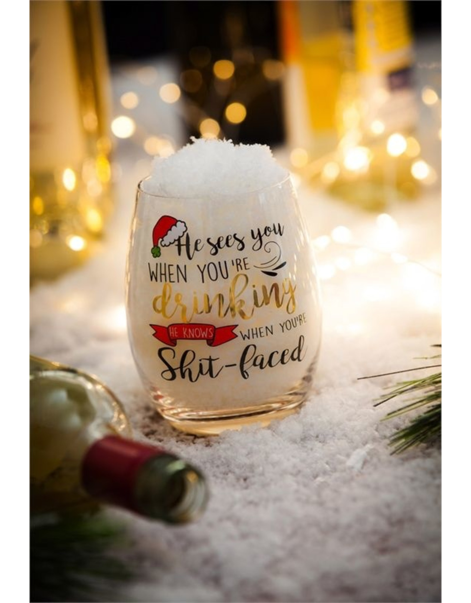 Evergreen Enterprises He Sees You When Your Drinking Stemless Wine Glass W/Metallic Accents & Box