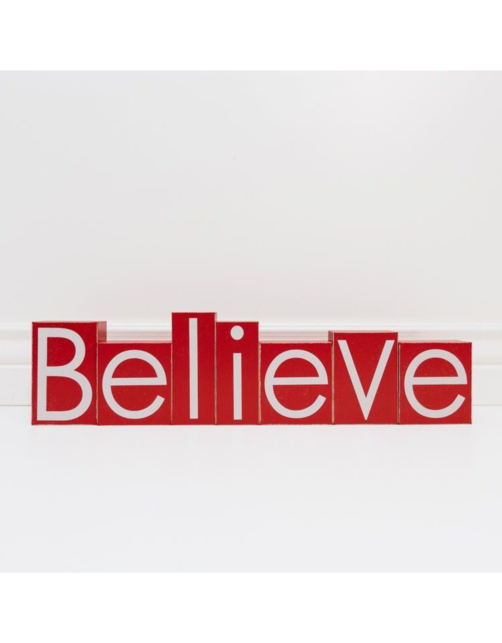 """Adams & Co. Red And White Wooden Block Set """"Believe"""""""