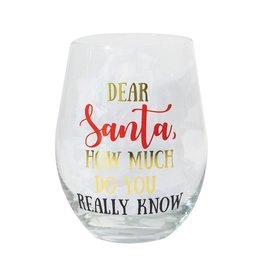 Mary Square Stemless DEAR SANTA Wine Glass