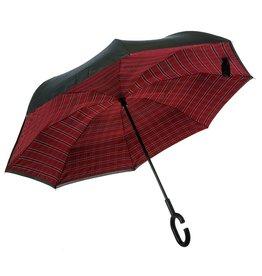Evergreen Enterprises Plaid Inverted Umbrella, Red