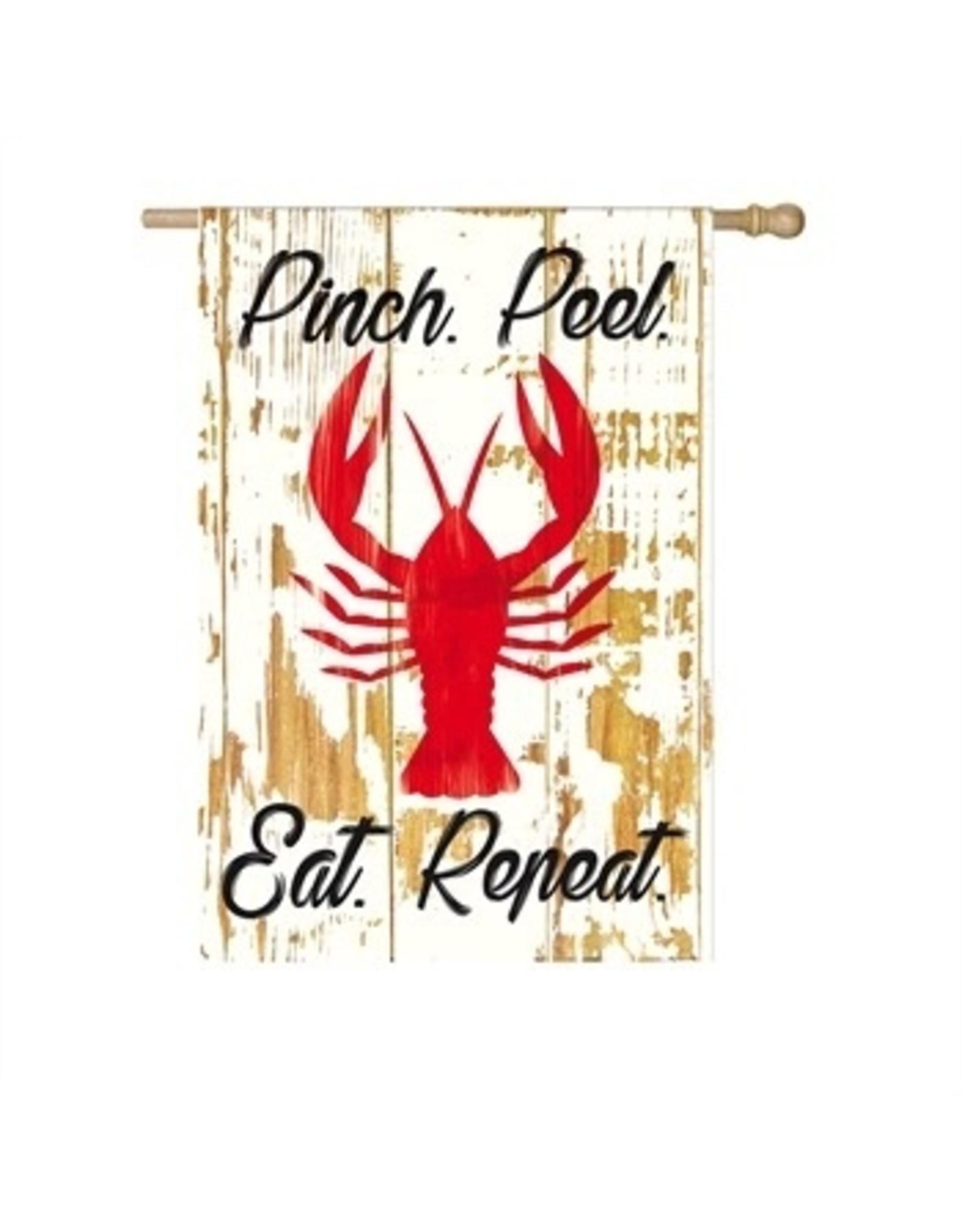 Evergreen Enterprises Pinch Peel Eat Repeat House Linen Flag