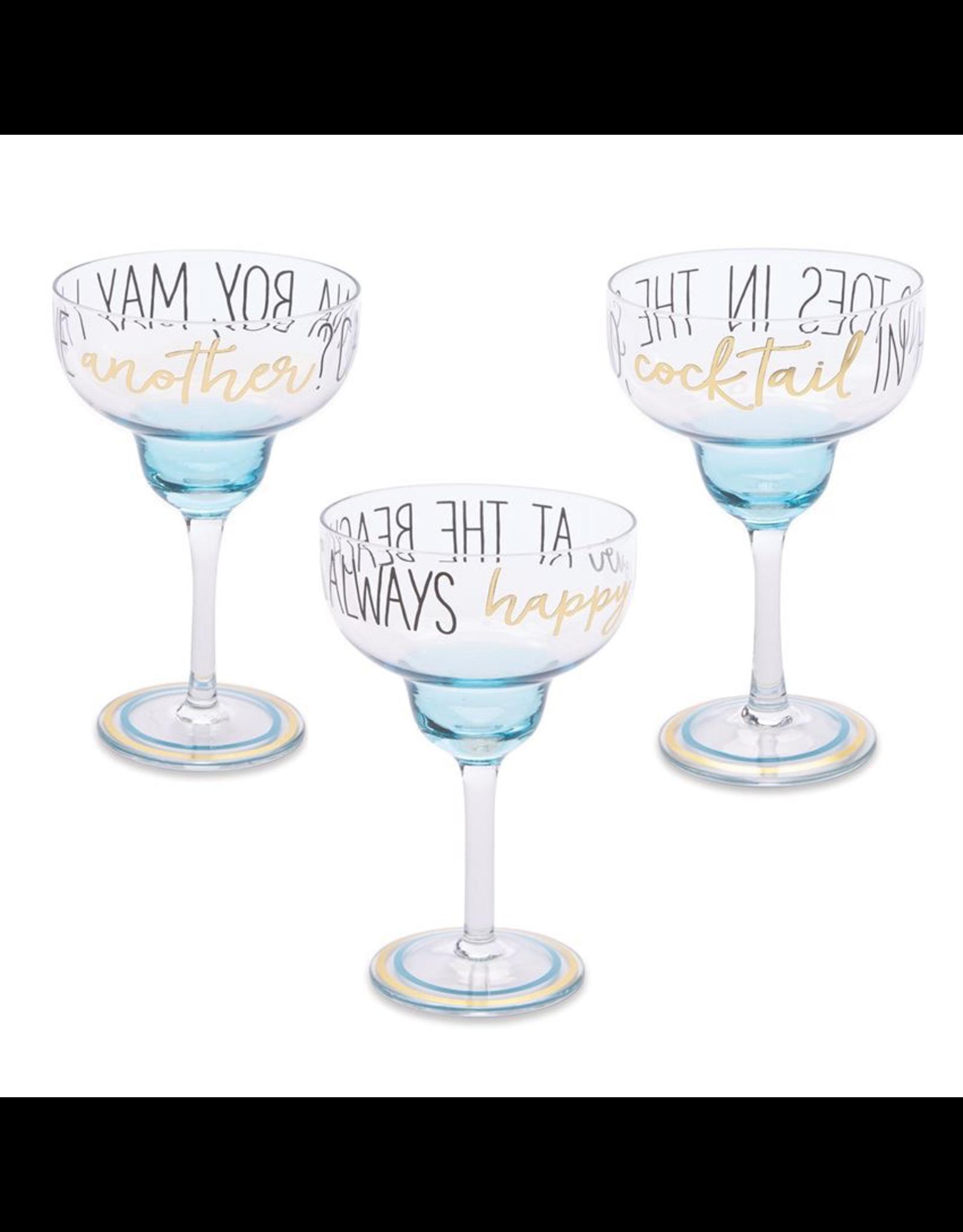 Mudpie Beach Margarita Glasses - Always Happy