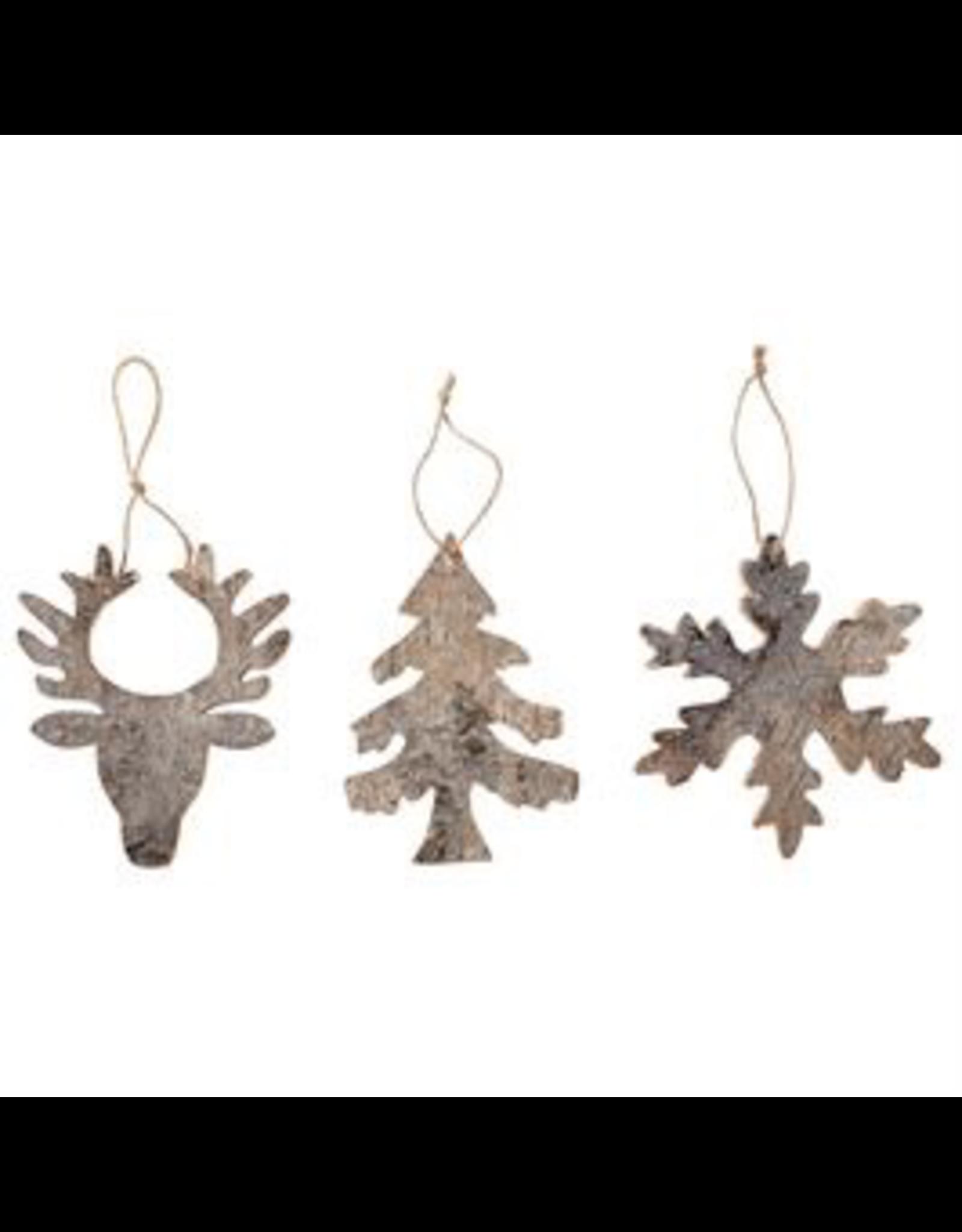 Mudpie Deer Birch Glitter Ornament