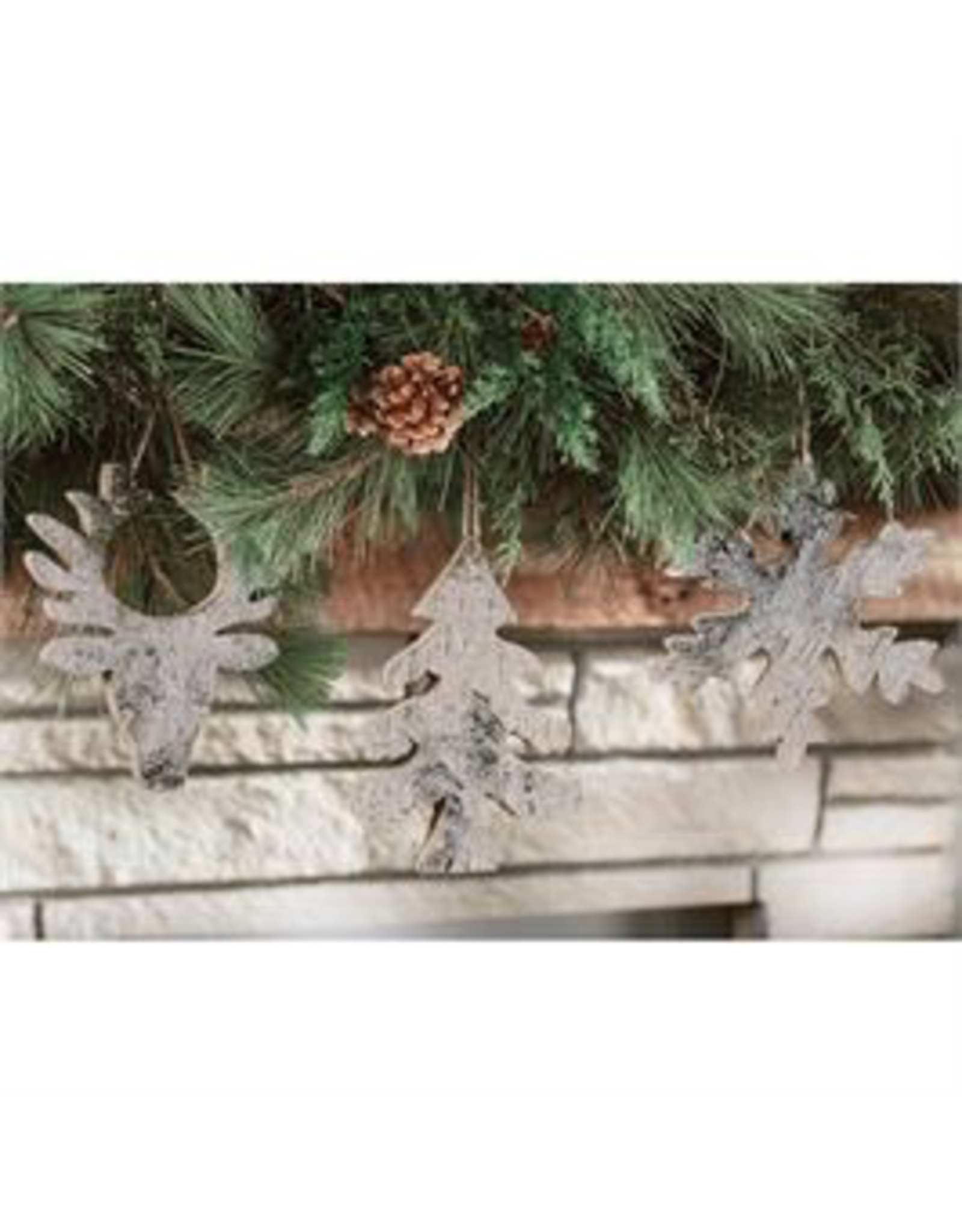 Mudpie Snowflake Birch Glitter Ornament
