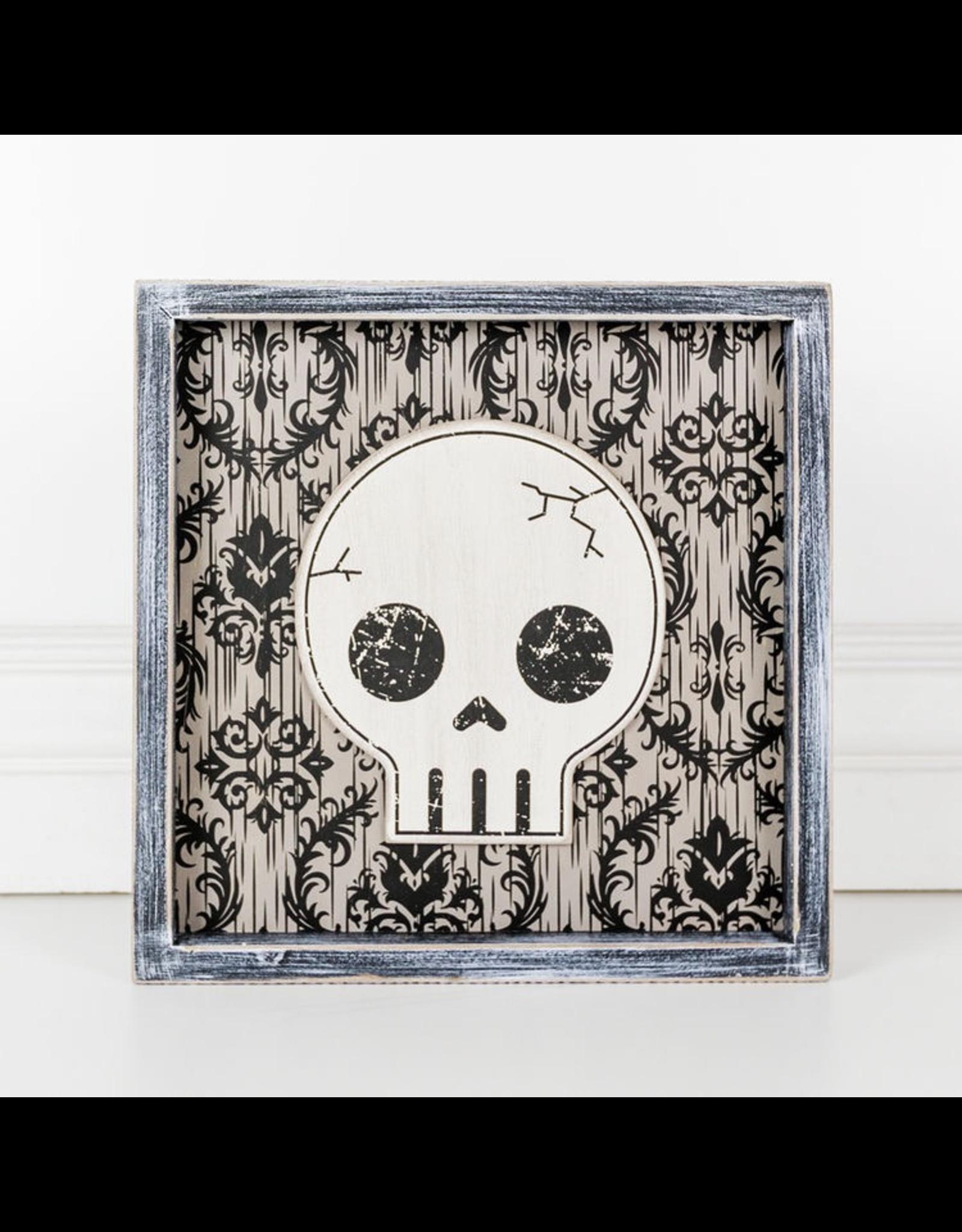 Adams & Co. Wood Framed Sign (Skull), Black/White/Gray