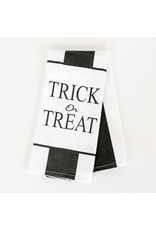 """Adams & Co. 15"""" x 24"""" Dish Towel (TRICK OR TREAT), White and Black"""