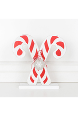Adams & Co. Wood Shape (Candy Cane), Red/White