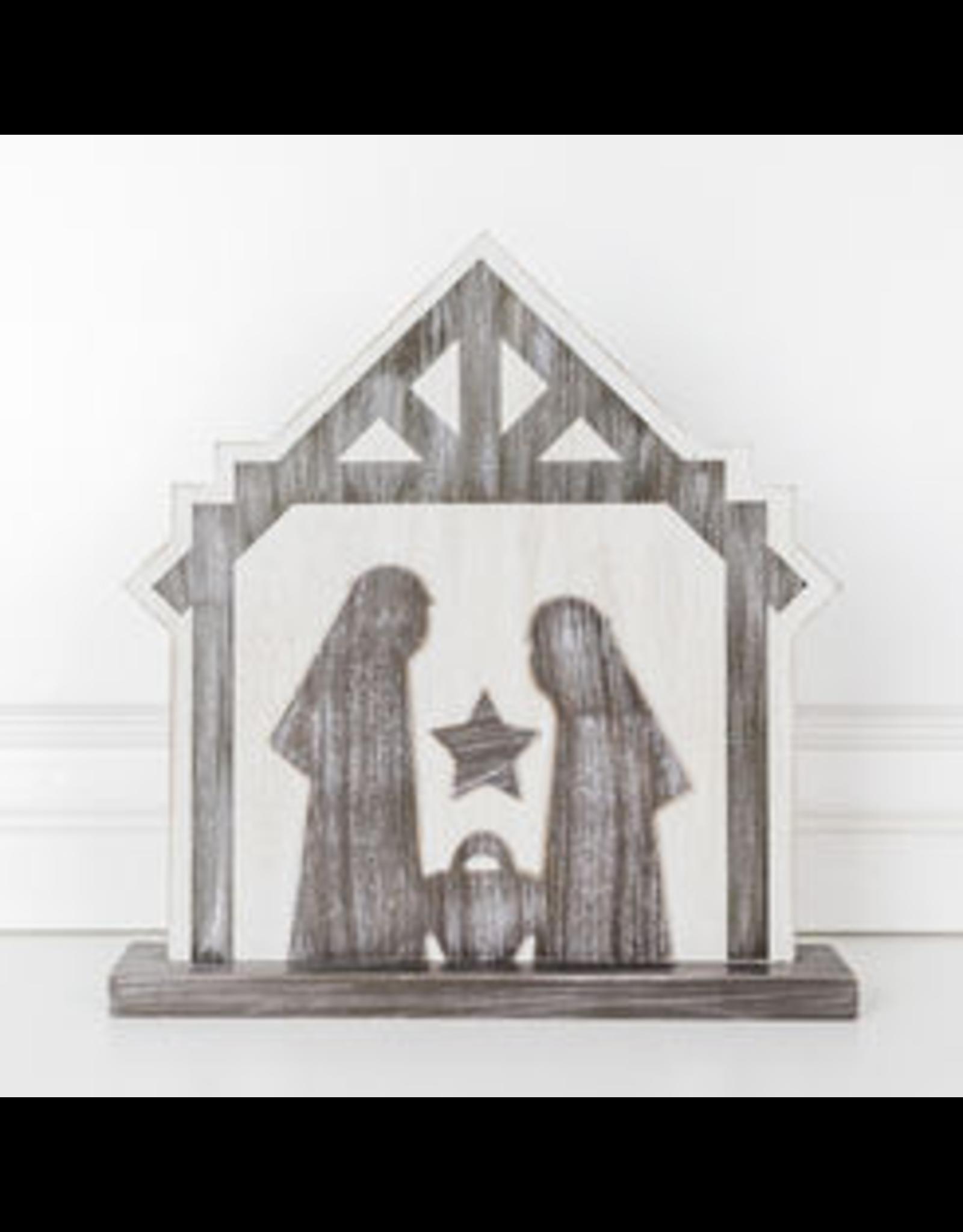Adams & Co. Wood Cutout (Nativity), White/Brown